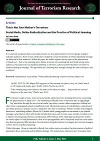 Это не терроризм твоей матери: социальные сети, онлайн-радикализация и практика политической блокировки (Laura Huey, Contemporary Voices: St Andrews Journal of International Relations, 6(2), 2015)