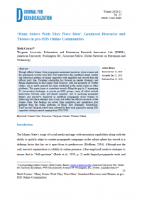 'Many Sisters Wish They Were Men': Gendered Discourse and Themes in pro-ISIS Online Communities (Meili Criezis, Journal for Deradicalization, #25, 2020)