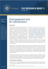Disengagement and De-radicalization (Sara Zeiger, Hedayah CVE Research Brief 1, 2014)