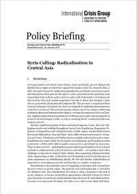 Сирия зовет: радикализация в Центральной Азии (International Crisis Group, 2015)