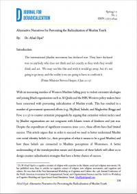 Альтернативные нарративы для предотвращения радикализации мусульманской молодежи (Афзал Упаль, Журнал по дерадикализации, №2, 2015)