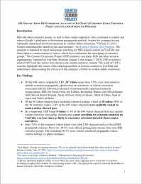 OK Google, show me extremism: analysis of Youtube's extremist video takedown policy and counter-narrative program (Counter Extremism Project, 2018)