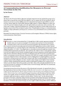 Предотвращение терроризма: обоснование мер с позиций коммунитаризма в Великобритании (Ian Turner, Perspectives on Terrorism Journal, #5, 2016)