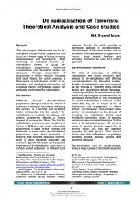 Дерадикализация террористов. Теоретический анализ и кейс-стади (Didarul Islam, Counter Terrorist Trends and Analyses, #5, 2019)