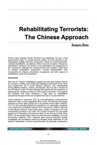 Реабилитация террористов: китайский подход (Zunyou Zhou, Counter Terrorist Trends and Analyses, #4, 2016)