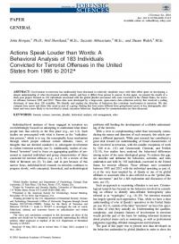 Действия говорят громче слов: поведенческий анализ 183 человек, осужденных за террористические преступления в США с 1995 по 2012 год (John Horgan et al., Journal of Forensic Sciences, #5, 2016)