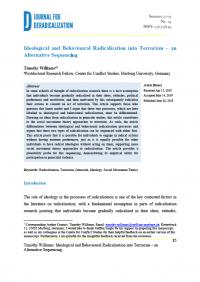 Идеологическая и поведенческая радикализация к терроризму - альтернативная последовательность  (Timothy Williams, Journal for Deradicalization, #19, 2019)