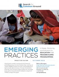 Новые практики в разработке, мониторинге и оценке программ образования для миростроительства (Rebecca Herrington, Search for Common Ground, 2015)