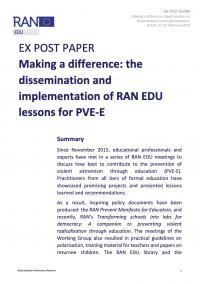 Изменения к лучшему. Экспертная сессия по распространению и внедрению уроков RAN EDU в ПНЭ в области образования (RAN, 2019)