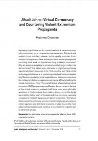 Джоны-джихадисты: виртуальная демократия и противодействие пропаганде насильственного экстремизма (Matthew Crosston, Cyber, Intelligence, and Security, #3, 2018)